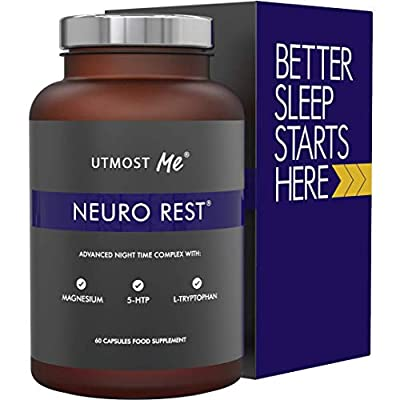 5-HTP + Magnesium + Natural Melatonin Sleeping Aid - Montmorency Cherry, Chamomile, L Tryptophan Supplement Pills | Neuro Rest Tablets by Utmost Me (TM)