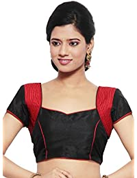 4025d127f289 Utsav Fashion Art Raw Silk Blouse in Black and Red