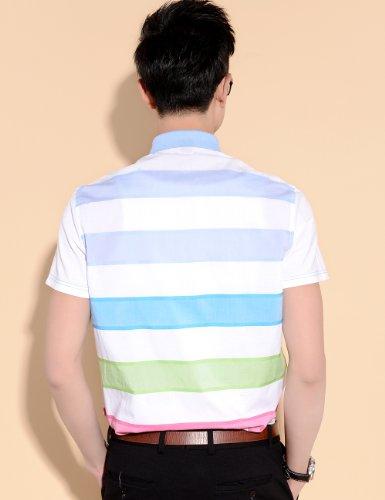 SSLR Herren Sommer Streifen Kurzarm Baumwolle Freizeit Hemd Multicolor