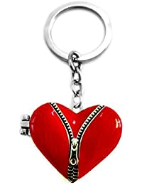 Aai Zip Design Opening Love Heart With Photo Frame Metal Keychain _ Red