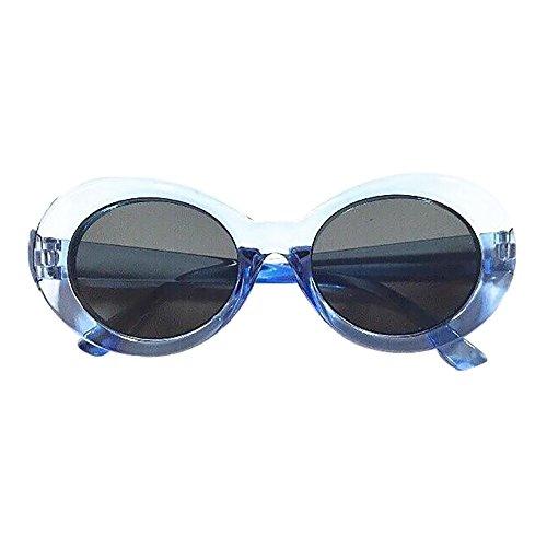 Zilosconcy Sonnenbrillen Runde Sonnenbrille Brille Sonnenbrille transparent blau Retro Vintage Clout Goggles Unisex Sonnenbrille Rapper Oval Shades Grunge ()