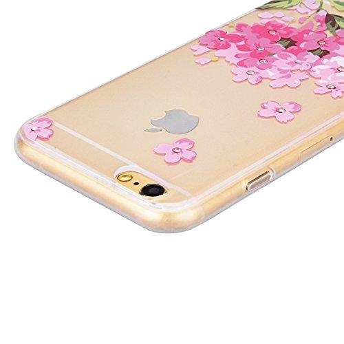 GrandEver iPhone 6S Hülle, iPhone 6 Weiche Silikon Bumper und Hardcase Strass Diamant Hart Backcover Transparent Glitzer Handyhülle mit Blumen Muster Schlank HandyTasche Flexible Bling Schutzhülle Zur Rosa Blumen