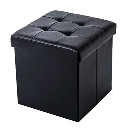 Change Shoe Hocker | Praktischer Hocker | Klappbarer Hocker | Faltbarer Ottoman Cube Box | Gepolsterte Fußstütze für Wohnzimmer und Schlafzimmer Max.150KG-Black Klappbarer Holz-box