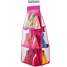 Cpixen 6 Pockets Pouch Hanging Handbag Organizer Clear Purse Bag Collection Storage Holder Wardrobe Closet Space Saving Fabric for Living Room Bedroom Cupboards Bathroom Home Use