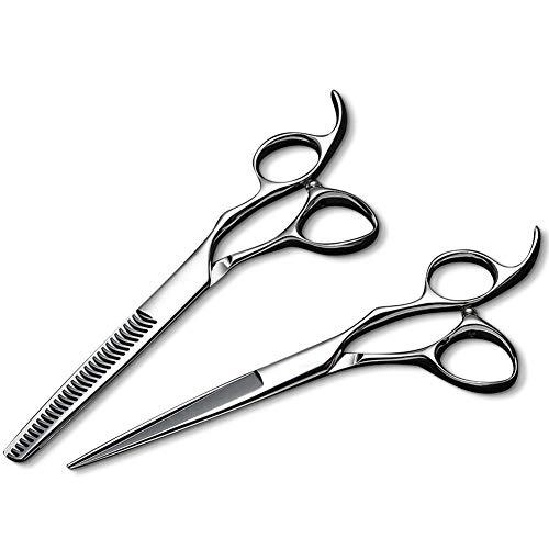 ANMPO Professionelle Friseurschere Effilierschere Set 440C Blindnagel Haarschere 6 Zoll -