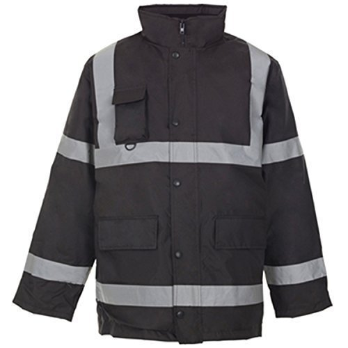 Hi Viz - 3/4 Langer Parka Wasserdichte Gesteppte Arbeitsjacke Mantel Signalfarben Reflektierendes Band Sicherheit Kapuze Fluoreszierend - Schwarz, L