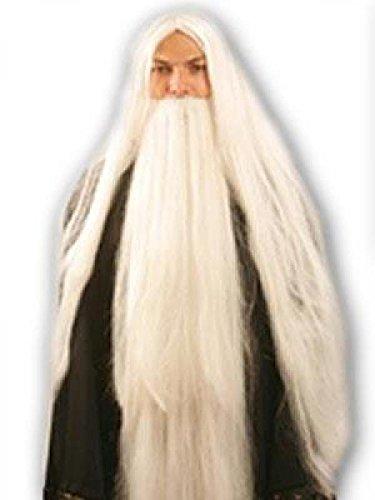 Weiße, lange Perücke mit langem Bart (Weiße Perücke Und Bart)