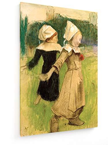 Paul Gauguin - Studie für Bretonische Mädchen beim Tanz - 60x90 cm - Textil-Leinwandbild auf Keilrahmen - Wand-Bild - Kunst, Gemälde, Foto, Bild auf Leinwand - Alte - Kostüm Für Volkstanz