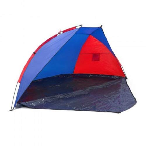 Relaxdays Strandmuschel verschließbar, HxBxT: 120 x 270 x 120 cm, mit Tasche, UV-Schutz 80, Strandzelt, anthrazit-rot