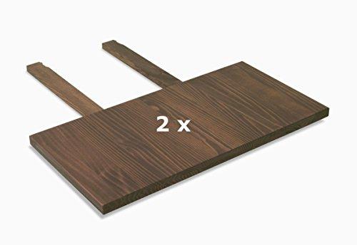 2 Stück Kiefer-tisch (2 Ansteckplatten 40x80cm für Esstisch ,,Rio Bonito,, 120x80, 140x80 und 160x80cm, Pinie Massivholz, geölt und gewachst, Tisch Farbton Cognac braun)