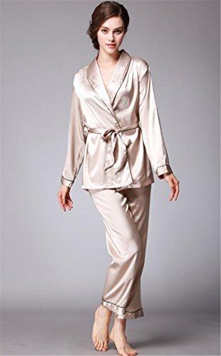 Hollwald Pyjama pour femme Vêtement de nuit Chemise de nuit Lisse Moderne Simple Décontracté Luxe Couleur pure(L, Noir) Chameau