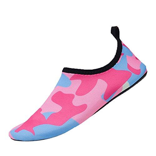 TianWlio Badeschuhe Strandschuhe Wasserschuhe Aquaschuhe Schwimmschuhe Surfschuhe Wasser Sportschuhe Barfuß Schnell Trocknend Aqua Yoga Socken Schlüpfen Männer Frauen Yoga Hot Pink 39-40