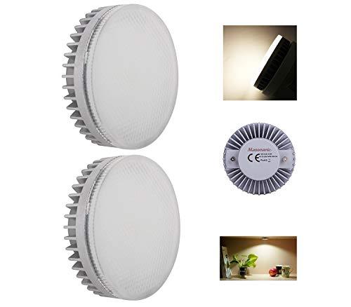 9w Led Spot Lampe (Masonanic 2 Stück GX53 LED 9W dimmbar Kaltweiß 4000K Spot Glühbirne Lampe,GX53 LED-DISC Leuchtmittel für unter Küche Schrank,Kleiderschrank,Schrank,Schaukasten Beleuchtung)