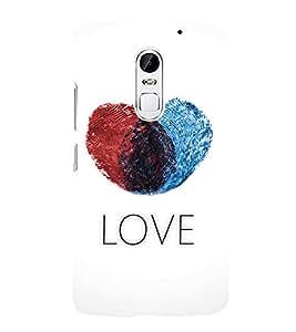 FUSON Fingerprint Heart Love 3D Hard Polycarbonate Designer Back Case Cover for Lenovo Vibe X3
