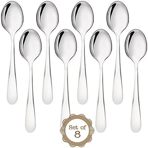 ONUBU Cucharitas para tazas de café espresso: Juego de 8 cucharas de acero inoxidable 18-10 que complementan cualquier juego de cubiertos con garantía de por vida