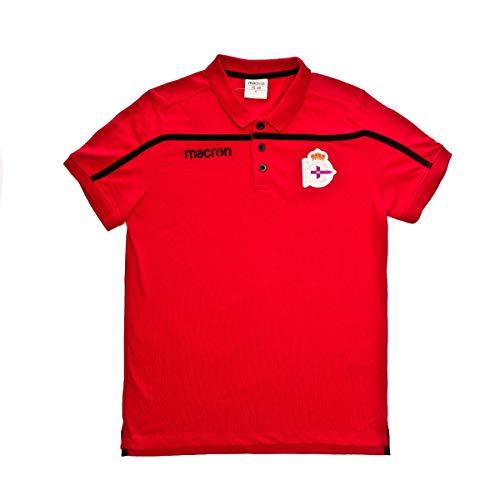 Macron RC Deportivo La Coruña 2018-2019 Niño, Polo, Red-Black, Talla JXL
