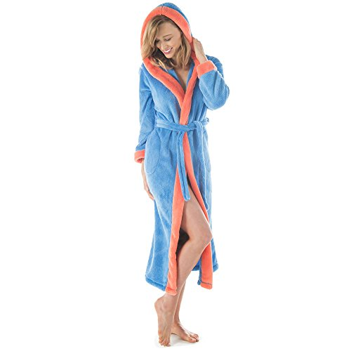 CelinaTex Bademantel mit Kapuze Damen oder Herren Flauschiger Sherpa-Fleece Waden-Langer Saunamantel 5000770 Serie Ohio L blau lachs