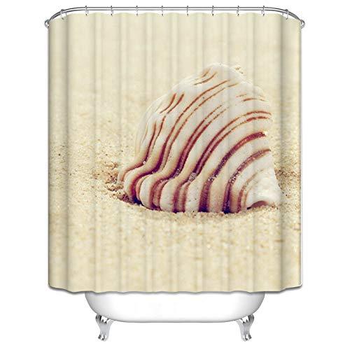 ANAZOZ Duschvorhang 3D-Effekt Wasserdicht, Anti Schimmel, Waschbar Umweltfreundlich mit 12 Duschvorhangringen Duschvorhänge aus Polyester Conch Strand Bad Vorhang für Badezimmer 90X180Cm C5312 (Aussehen Wie Ein Nerd Für Halloween)