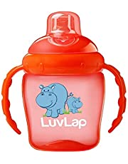 Luvlap Hippo Sipper/Sippy Cup 225ml, Anti-Spill Design with Soft Silicone Spout, 6m+ (Orange)