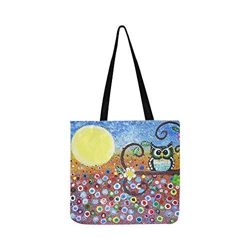 Einkaufstasche mit abstrakter Eule im Wald, Ölgemälde, Halloween, Mond, Segeltuch, Handtasche, Umhängetasche, Handtasche für Damen und Herren