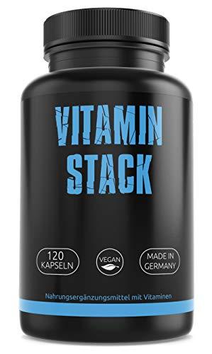 GYM-NUTRITION® — Vitamin Stack Vitamin-Komplex – Vitamin-Tabletten – Multivitamin-Kapseln – kombiniertes Vitamin-Präparat — vegan, hochdosiert, Made in Germany — 120 Kapseln, für 4 Monate