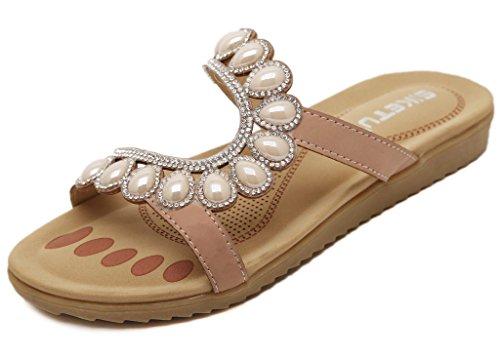 Fortuning's JDS Moda Donna fissando strass in rilievo pantofole sandalo piano Beige