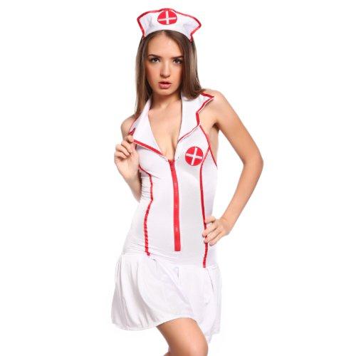 Kostüm freche Krankenschwester, mit Reißverschluss, komplettes Outfit, Rollenspiele, Größen 34, 36, 38, 40, 42, 44, 46, (Krankenschwester Outfits Freche)