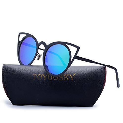 Cateye Metallrahmen Runde Flash Spiegel Objektiv Sonnenbrille für Frauen (Schwarz Und Weiß Weinlese Katzenaugen Brille)