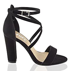 847ba945aa3 Womens platform block heel sandals ladies peeptoe party ankle strap ...