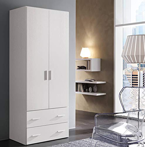 Zucca mobili armadio semplice h. 211 cm da 2 a 4 ante con cassetti - made in italy, 2 ante +2 cassetti (l.82,6 cm), bianco frassinato