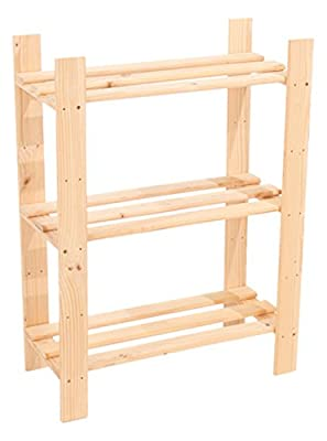 Core Products 3-Shelf Narrow Slatted Storage Unit, Natural Pine - low-cost UK light store.