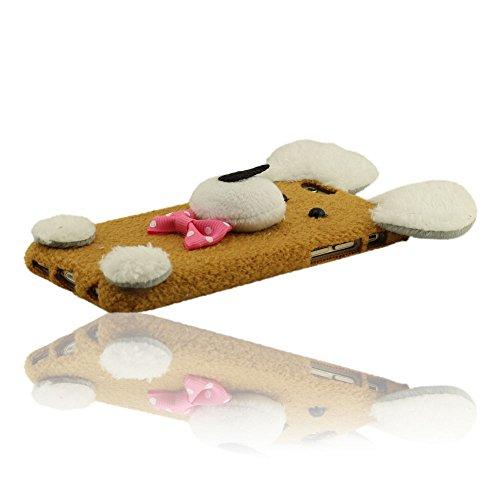 Warm Baumwollmaterial Schutzhülle für iPhone 6 iPhone 6S, Größe 4.7 Zoll Farbe Rot, Puppy Form schützende Hülle, Puppy Doll, Puppy Plüsch Braun