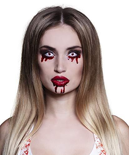 Karnevalsbud - Kostüm Accessoires Zubehör Damen Herren 3-Monats-Linsen Kontaktlinsen Blutige Augen, 3 Month Lenses Bloody Eyes, perfekt für Halloween Karneval und Fasching, Rot
