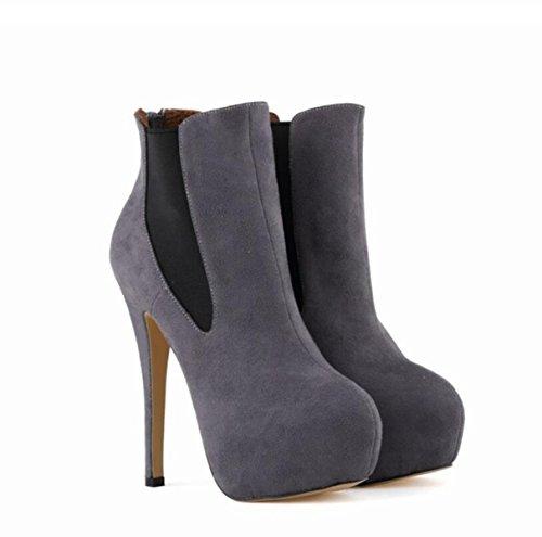 LINYI Tacco A Spillo Donna Martin Boots Slip On Sfilacciati Scarpe Comode Grey