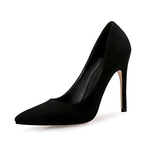 GAOLIM High-Heel Schuhe Frauen Herbst Und Winter Dünner Spitze Schuh Mädchen Schuhe Schwarz Berufe, 36, Schwarz 10 Cm