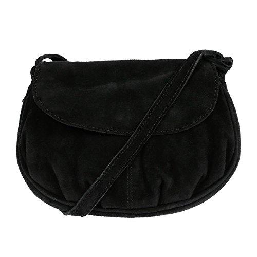 Christian Wippermann Leder Schultertasche Abendtasche Umhängetasche Überschlagtasche Ledertasche 22cmx18cmx5xcm (BxHxT) Schwarz