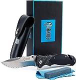 Piranjo® Klappmesser Outdoor Set | Scharfes Einhandmesser mit Edelstahlklinge & schwarzen robusten G10