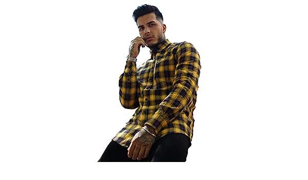 382b757a221 sinners Attire L S Script Flannel Shirt Yellow Black-M  Amazon.co.uk   Clothing
