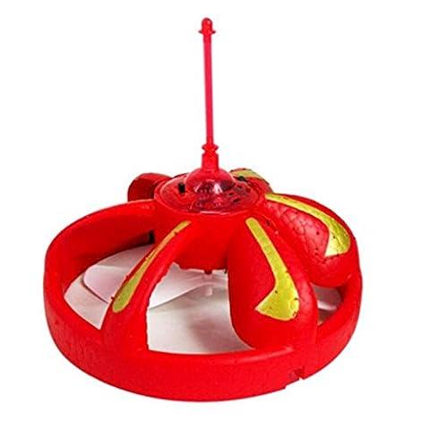 Upxiang LED RC Fliegen UFO Drone Hubschrauber Ball,(Sensor Automatische Induktionshindernisse) Eingebautes Shinning LED-Beleuchtung-Spielzeug, LED Flugzeug Fern RC Spielzeug für Kinder (Rot)