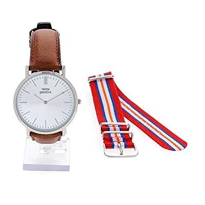 Señoras THINK POSITIVE® Modelo SE W92 Reloj Grande Del Plano De Acero De La Correa De Cuero Marrón Hecho En Italia Y Cordora Color Rojo, Azul, Naranja