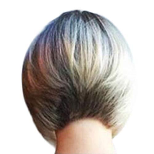 LMRYJQ Perücke Wig voluminös ca.28cm Mädchen Mode Perücke Mode Synthetische Kurze Gerade Färben BOB Gold Natürliche Haar Perücken ()