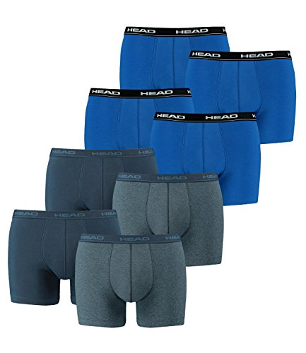 HEAD Men Boxershort 841001001 Basic Boxer 8er Pack, 2x Blue Beaven 2x Blau, XL - Mens Blau Baumwolle Boxer