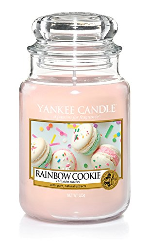 Yankee Candle Rainbow Cookie Glaskerze, pink, 10,7 x 10,7 x 16,8 cm -