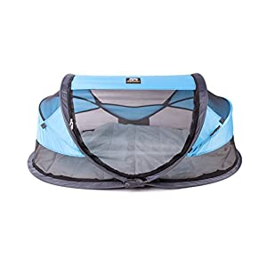 Deryan travel cot / travel cot Baby Luxe travel tent including sleeping mat, self-inflatable air mattress and carrying bag with pop-up built within 2 seconds, Blue   10