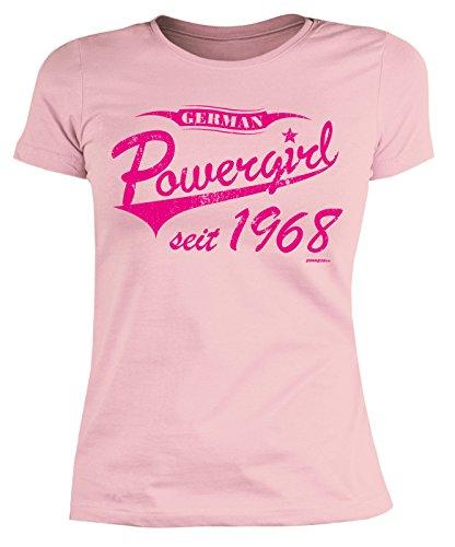 Damen T-Shirt 50 Geburtstag Frauen - Geburtstagshirt Frau 50 Jahre - Jahrgang 1968 : German Powergirl Seit 1968 - Geschenk-Idee 50.Geburtstag Damenshirt Gr: S