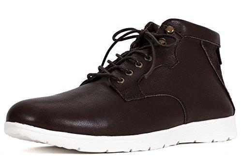 OZZEG mode hommes chaussures hiver chaud doublure bottes en peau de mouton laine cuir Café