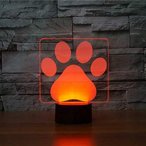 Jinson well 3D hund pfote Lampe optische Illusion Nachtlicht, 7 Farbwechsel Touch Switch Tisch Schreibtisch Dekoration Lampen perfekte Weihnachtsgeschenk mit Acryl Flat USB Kabel kreatives Spielzeug