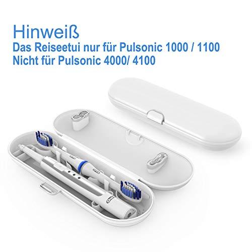 Oral B Pulsonic Slim reiseetui, Poketech Reiseetuis für Oral B Pulsonic Slim Schallzahnbürste für Oral-B 1 Handstück und 2 Aufsteckbürsten Premium - Weiss