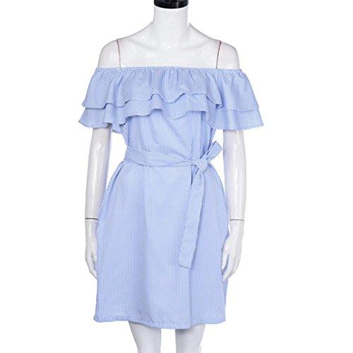 WOCACHI Damen Sommer Kleider Frauen gestreiftes Muster weg vom Schulter Rüsche Kleid mit Gurt Partei Minikleid Strand Kleid Blau