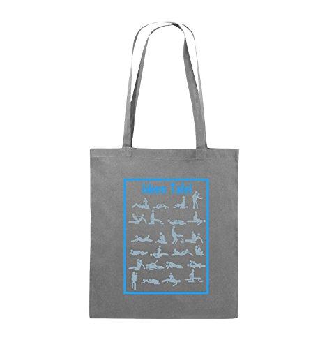 Comedy Bags - Ideen Tafel - SEXSTELLUNG - Jutebeutel - lange Henkel - 38x42cm - Farbe: Hellblau / Hellgrün-Royalblau Dunkelgrau / Eisblau-Blau